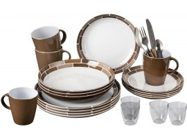 SET PIATTI BRUNNER IN MELAMINA 36 PEZZI ALL INCLUSIVE CHOCOLATE